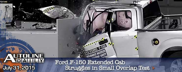 Ford F-150 Extended Cab struggles with small overlap crash test