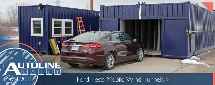 Ford Fusion in front of Mobile Aeroacoustic Wind Tunnel